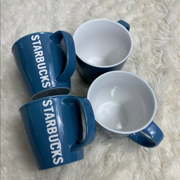 Set 4 Starbucks Coffee Mugs 2010 Blue Laser Etched